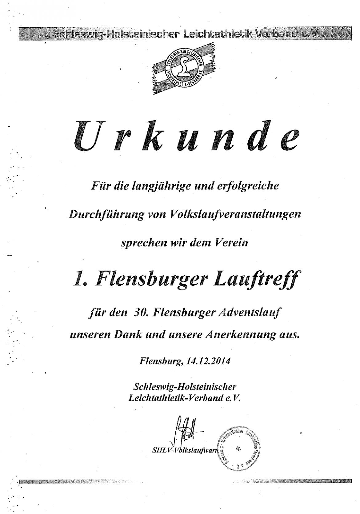 Urkunde vom Schleswig-Holsteinischen Leichtathletikverband